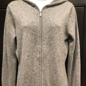 Cashmere zip up hooded sweater
